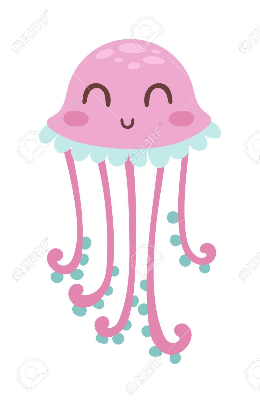 Gallery Of Cute Happy Jellyfish Cartoon Character Sea Animal V.