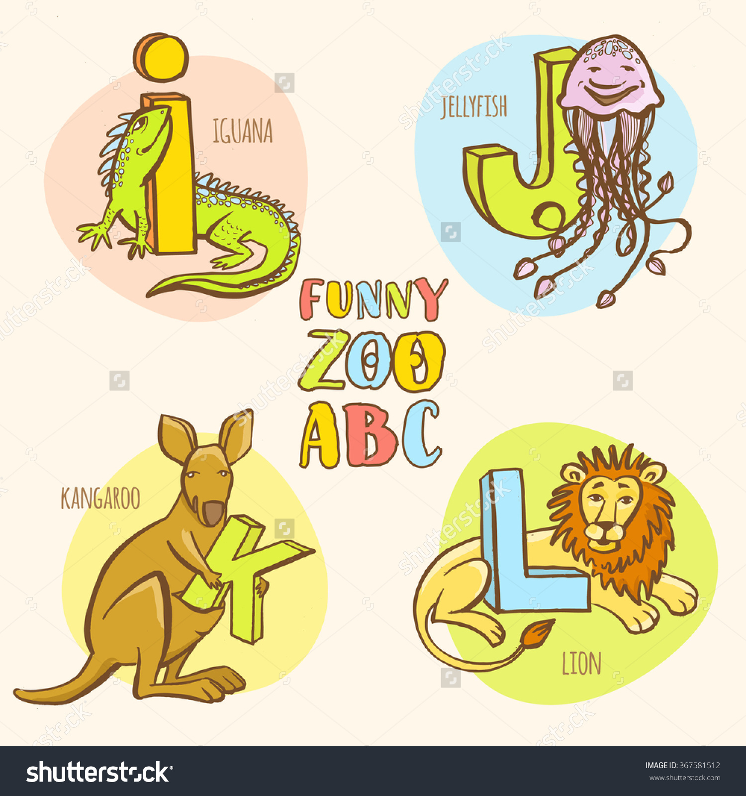 Vector Illustration Funny Zoo Animals Kids Stock Vector 367581512.