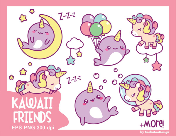 Kawaii Printable Clipart for Journal Stickers.
