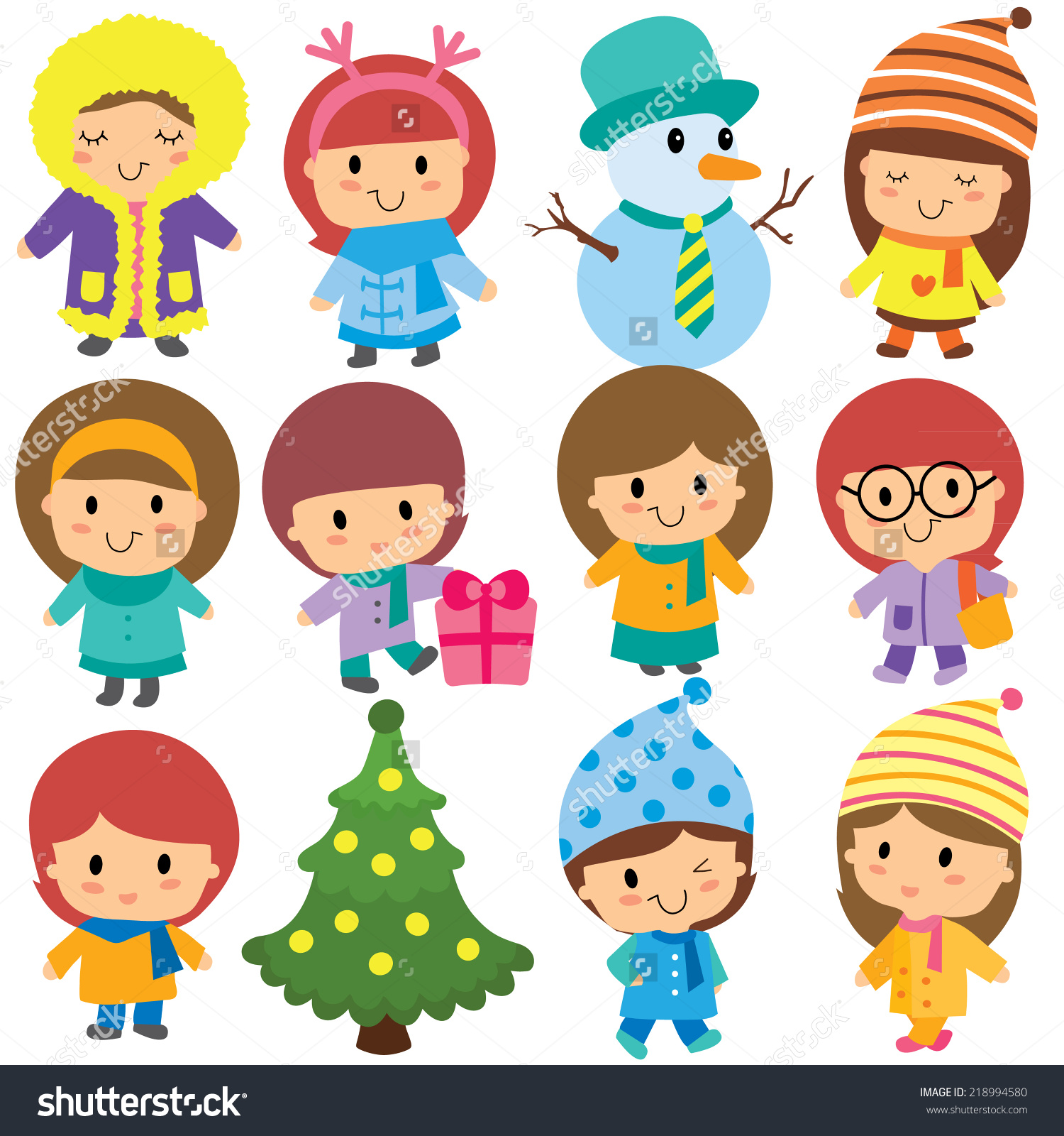 Cute expressions of kids clipart.
