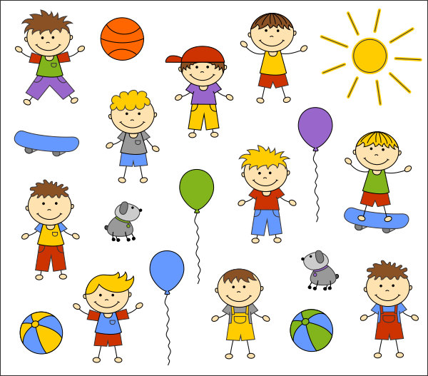 Cute Kids Digital Clip Art, Baby Boy Digital Clip Art, Children.