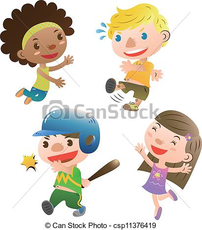 Vector Illustration of cute kids playing csp11376421.