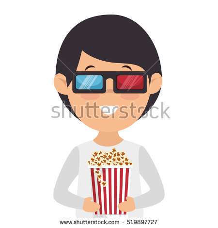 Cute Cartoon Kids Sitting Cinema Watching Stock Vector 370625312.