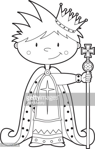 Colour In Cute King Clipart Image.