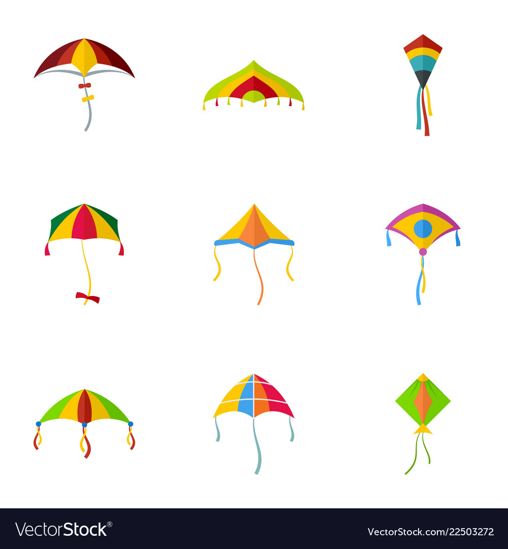 Cute fly kite icon set flat style.