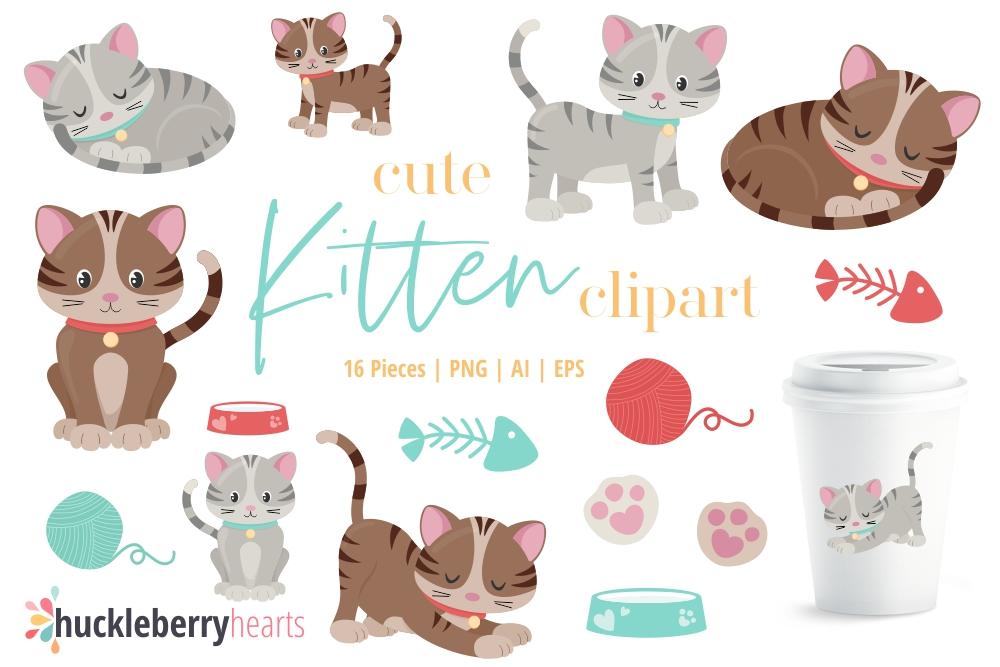 Cute Kitten Clipart.