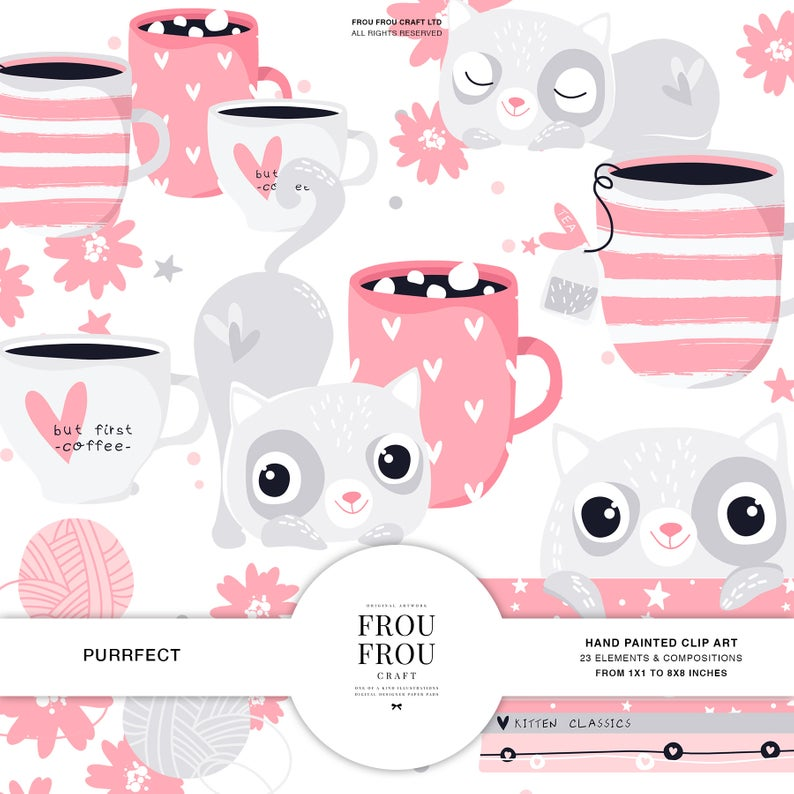 Cute Kitten Clipart, Cat Clip Art, Nursery Baby Girl Pink Decals, Coffee  Planner Stickers, Hot Chocolate Planner Cover, Tea Lovers Wall Art.