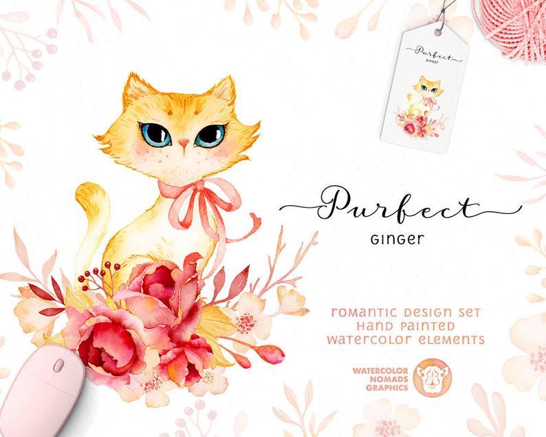 Cute Kitten Clipart, Watercolor Flowers. Cute Cat Clipart, Pink Flower  Wreath, crown, diy, printable, instant download, roses, scrapbooking.