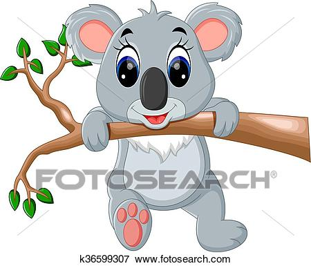 Cute koala cartoon Clip Art.
