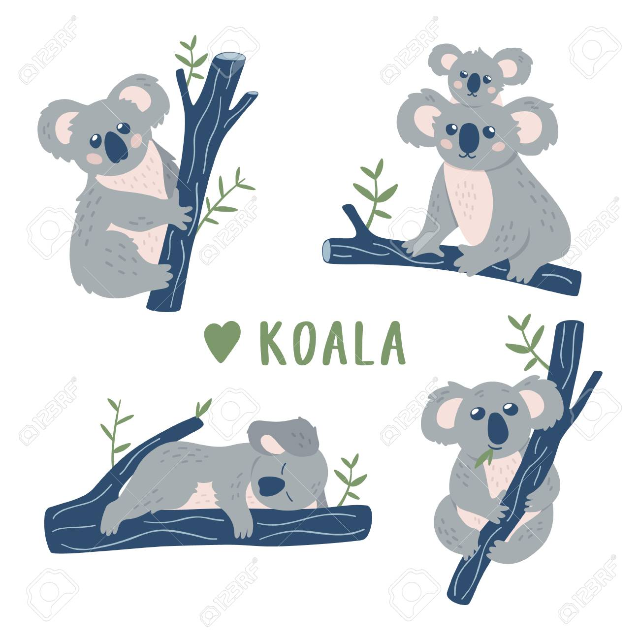 Hand drawn doodle Koala Bears collection. Cute Koala design template.