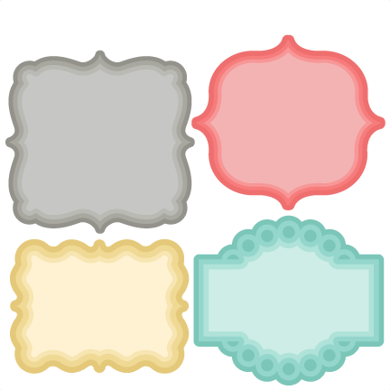 Layered Label Set SVG scrapbook cut file cute clipart files.