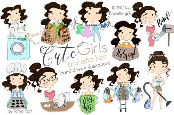Cute Girls, Planner Stickers Clipart, Brunette Hair Girls.