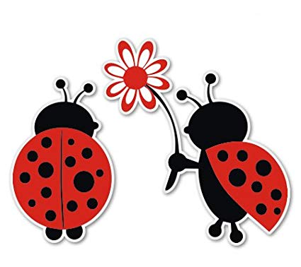 Ladybug Love Cute Vinyl Sticker.