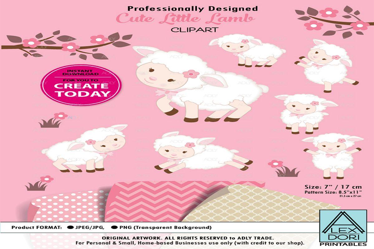 Clipart Cute Lamb Sheep Girl Pink Background.