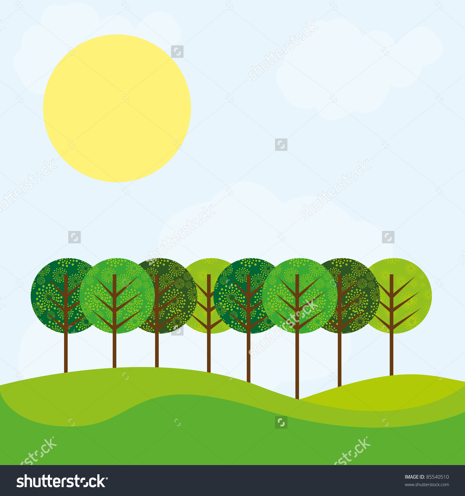 Cute Landscape Tree Grass Sun Over Stock Vector 85540510.