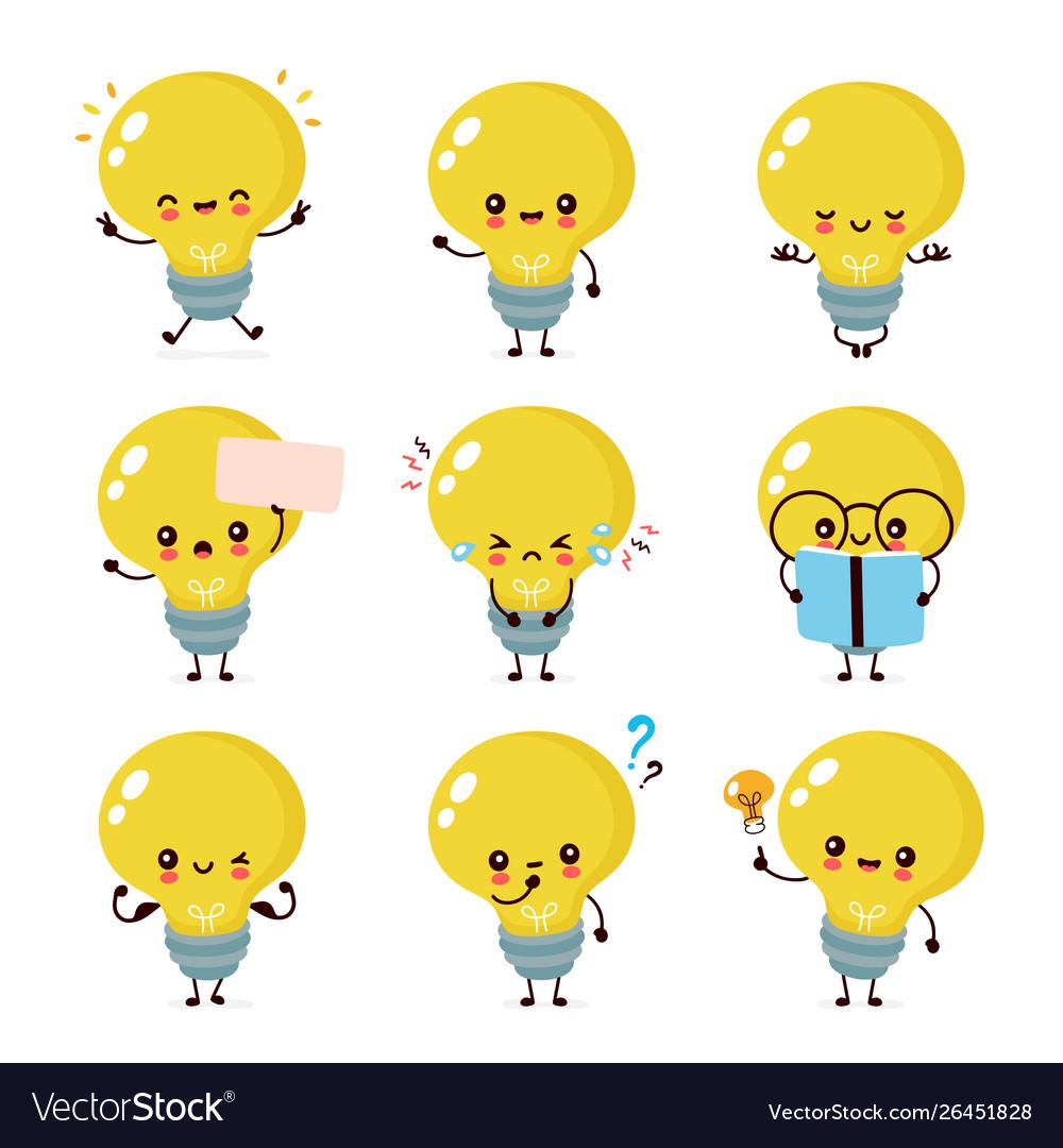 Cute happy smiling light bulb character.