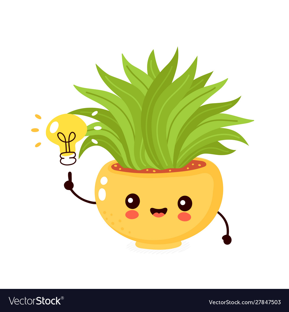 Cute happy smiling plant in pot with light bulb.