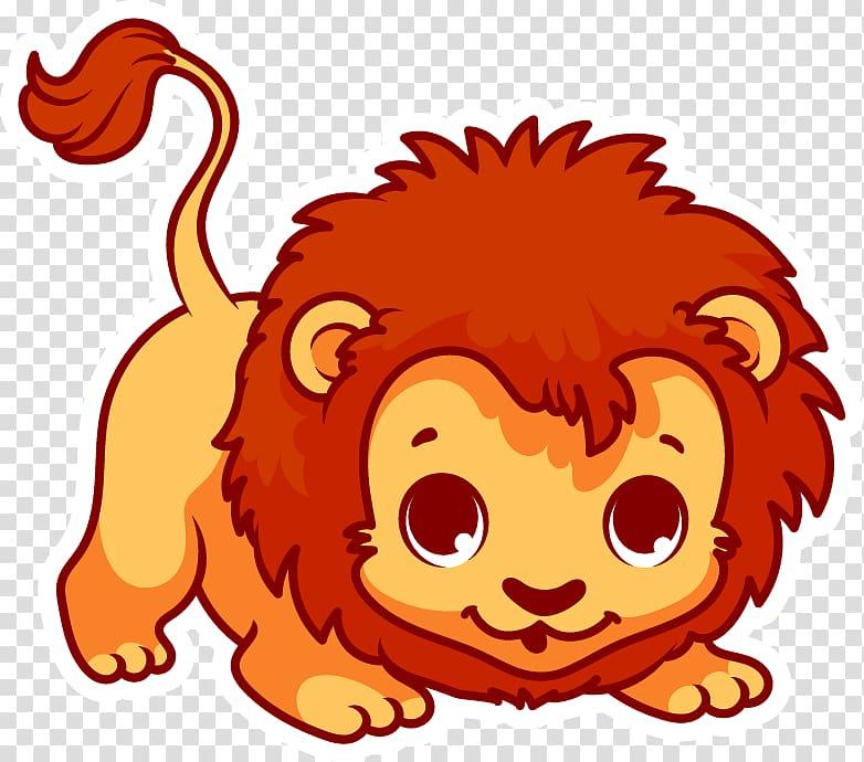 Lion illustration, Lion Cartoon , lion cub transparent.