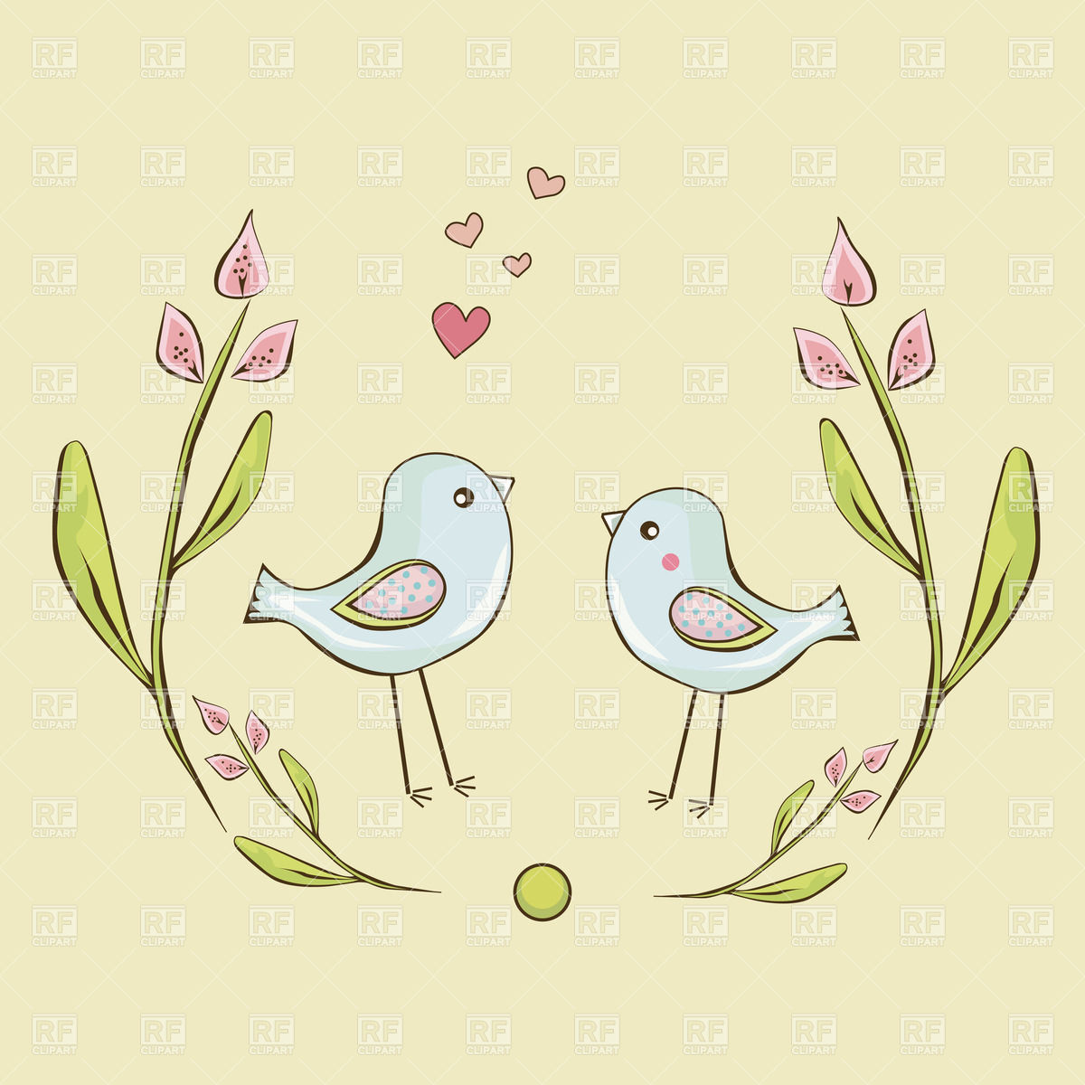 Two cute little birds in love Stock Vector Image.