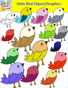 14 Cute Little Bird Clipart Graphics Rainbow of Colors.