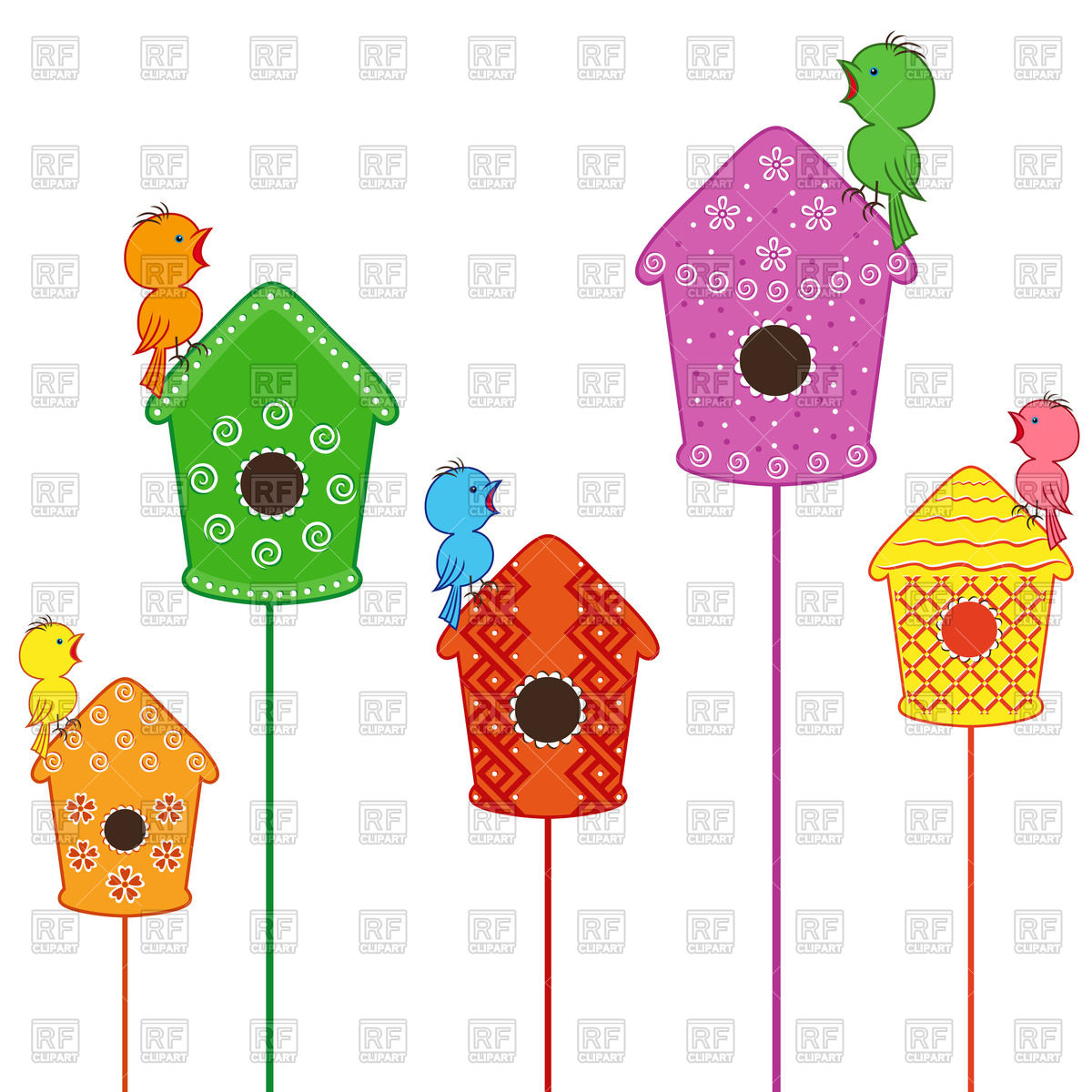 Cute little birds sitting and singing on their homes Stock Vector Image.