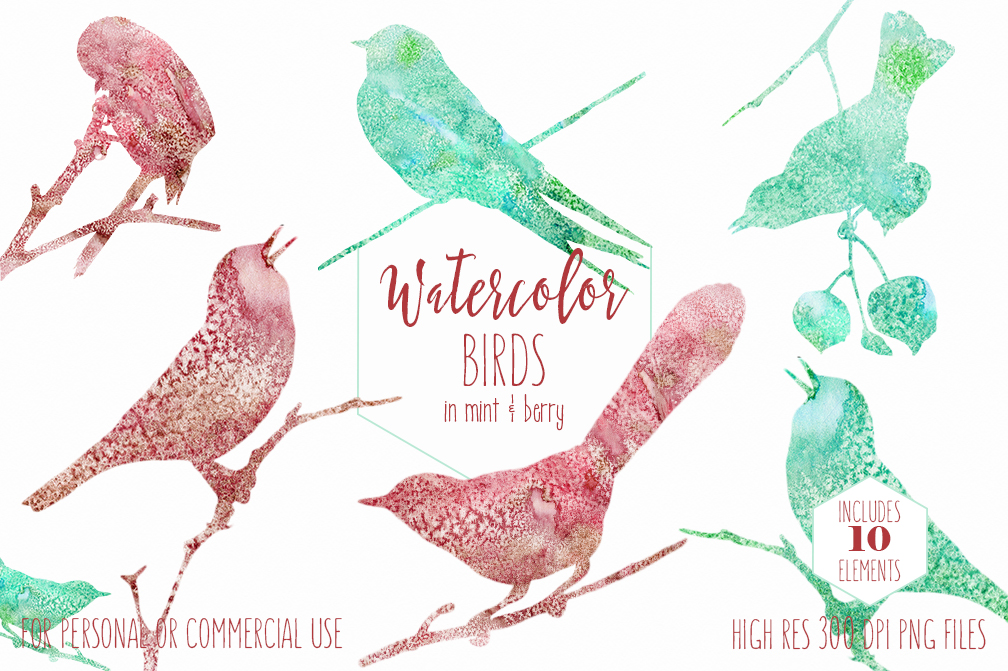 WATERCOLOR BIRD Clipart Burgundy & Mint Watercolor Cute Birds on Branches  Graphics Little Bird Silhouette Clipart.