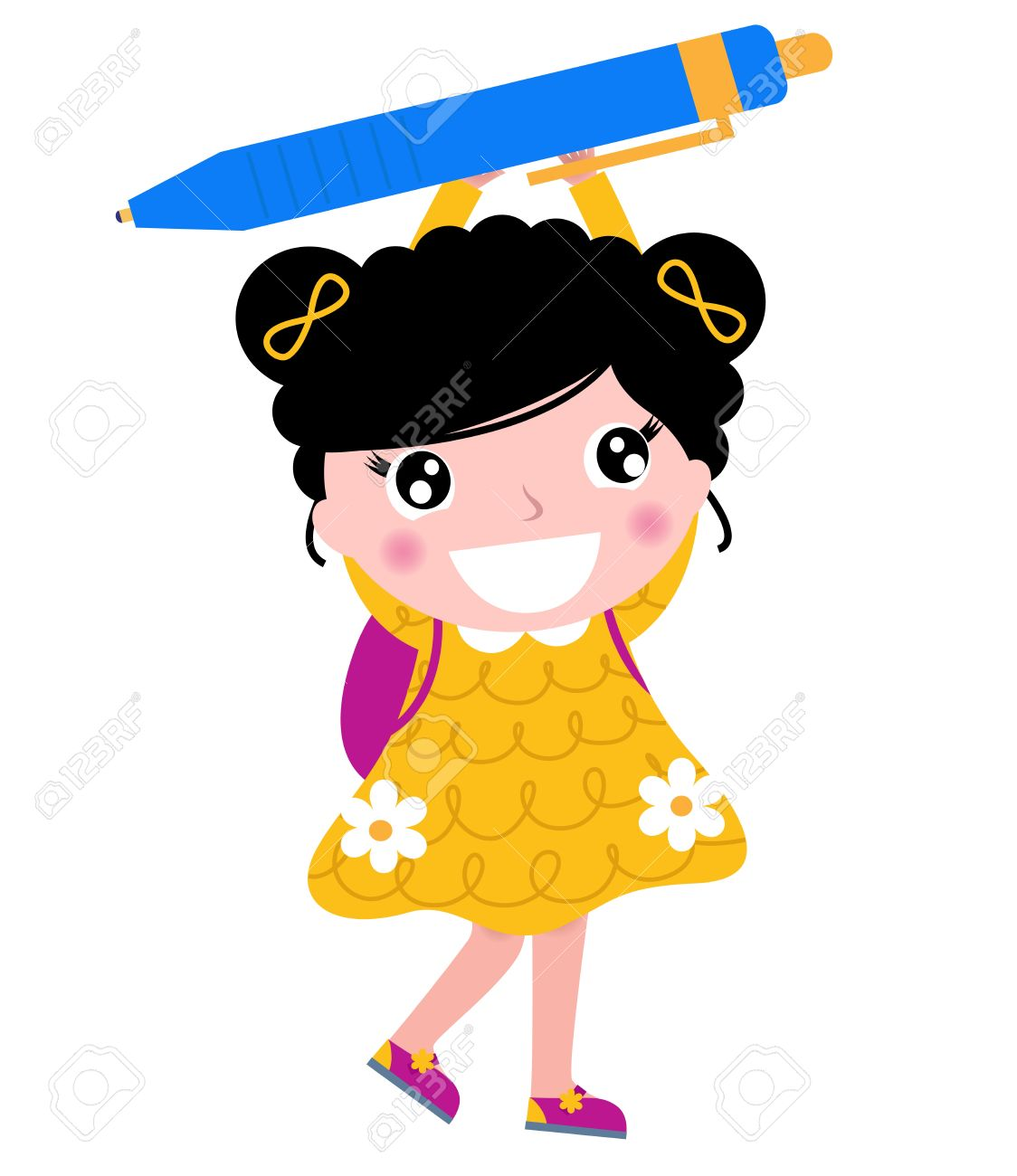 Cute Little Girl In School Clipart Clipground