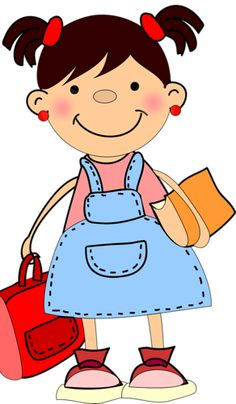 Cute Little Girl In School Clipart.