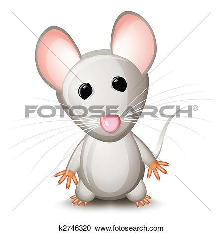 Clip Art of A happy cute looking grey cartoon mouse found some.