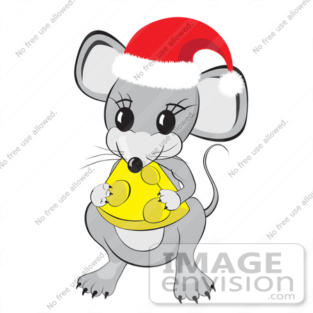 Clipart Illustration of a Cute Little Gray Mouse Wearing A Red And.