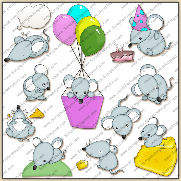 Cute Little Mice ClipArt Graphic Collection.