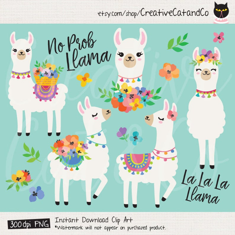 Cute Llamas with Spring Flowers Clipart, Spring Alpaca Llama Illustration  Clipart Clip Art Set, Commercial Use.