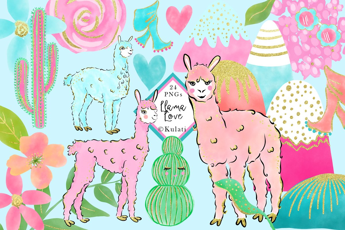 Cute Llama Clipart / Graphics.