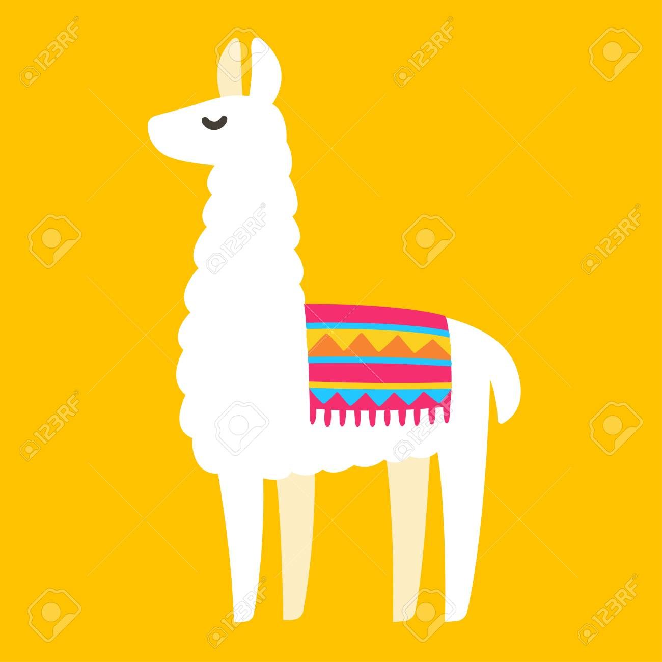 Cute cartoon Llama drawing on bright background, simple vector...
