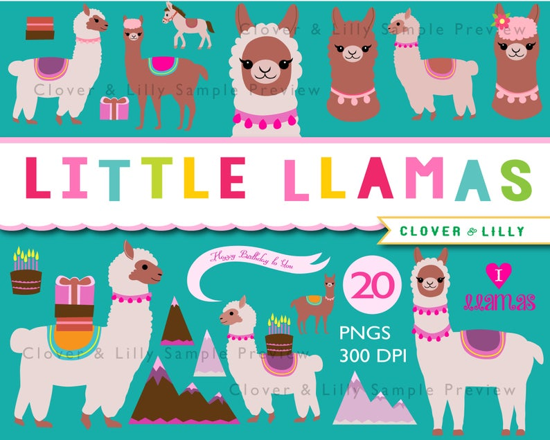 Llama clipart, cute llamas clip art, burro, birthday card, alpaca,  illustration, Instant Download kawaii.