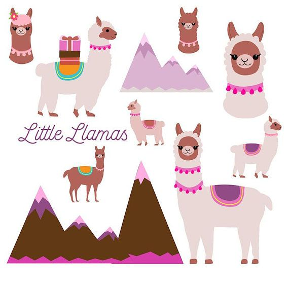 Llama clipart, cute llamas clip art, burro, birthday card, alpaca.