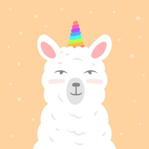 Flat Cute Llama Unicorn Wannabe Vector Clipart Illustration.
