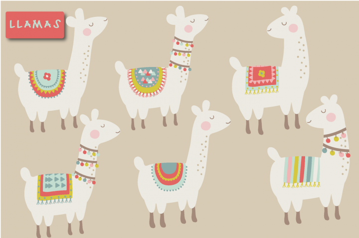 Cute llama clipart By Poppymoon Design.