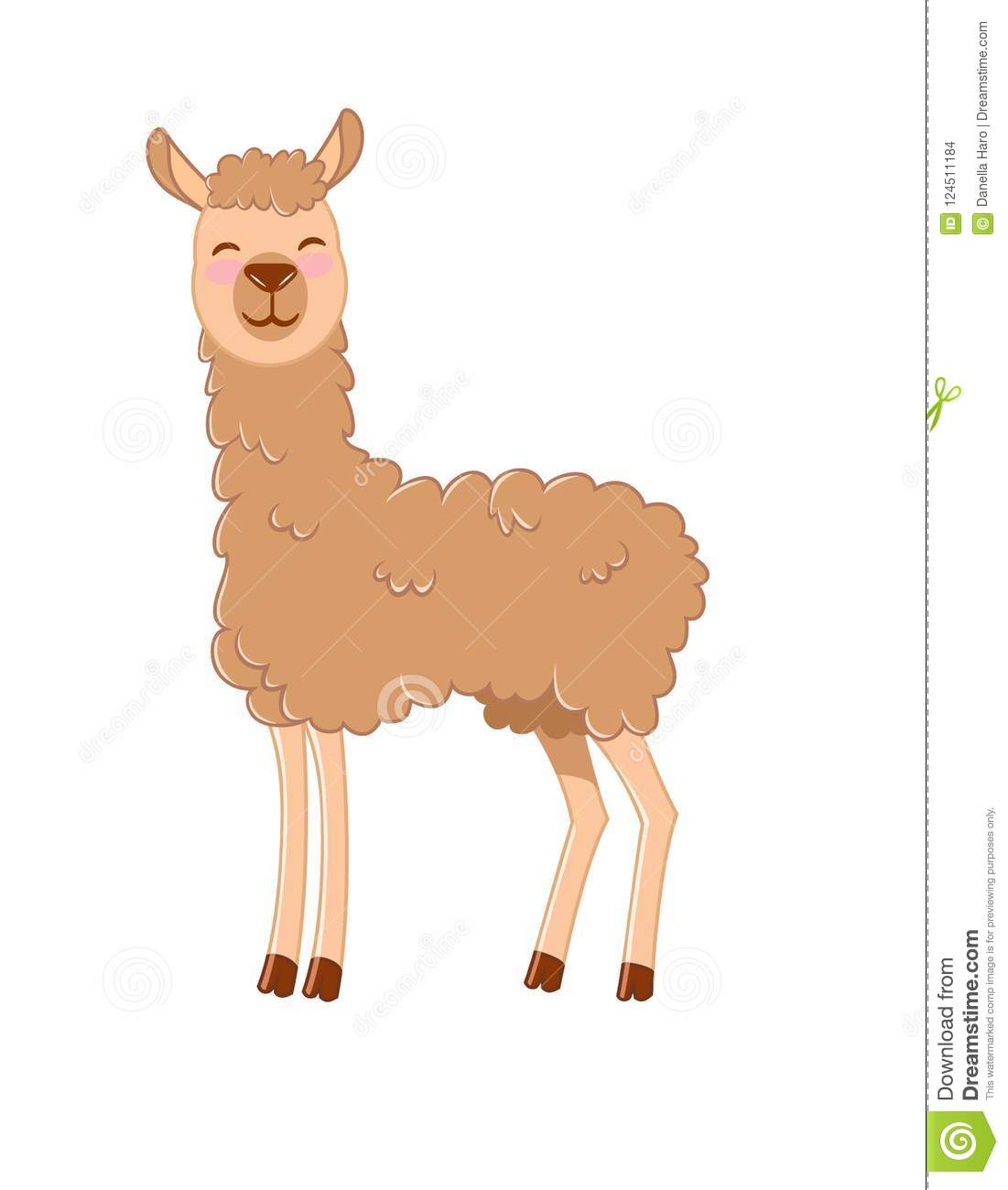 Cute Llama Smiling At You. Happy Llama Clip Art Stock Photo.