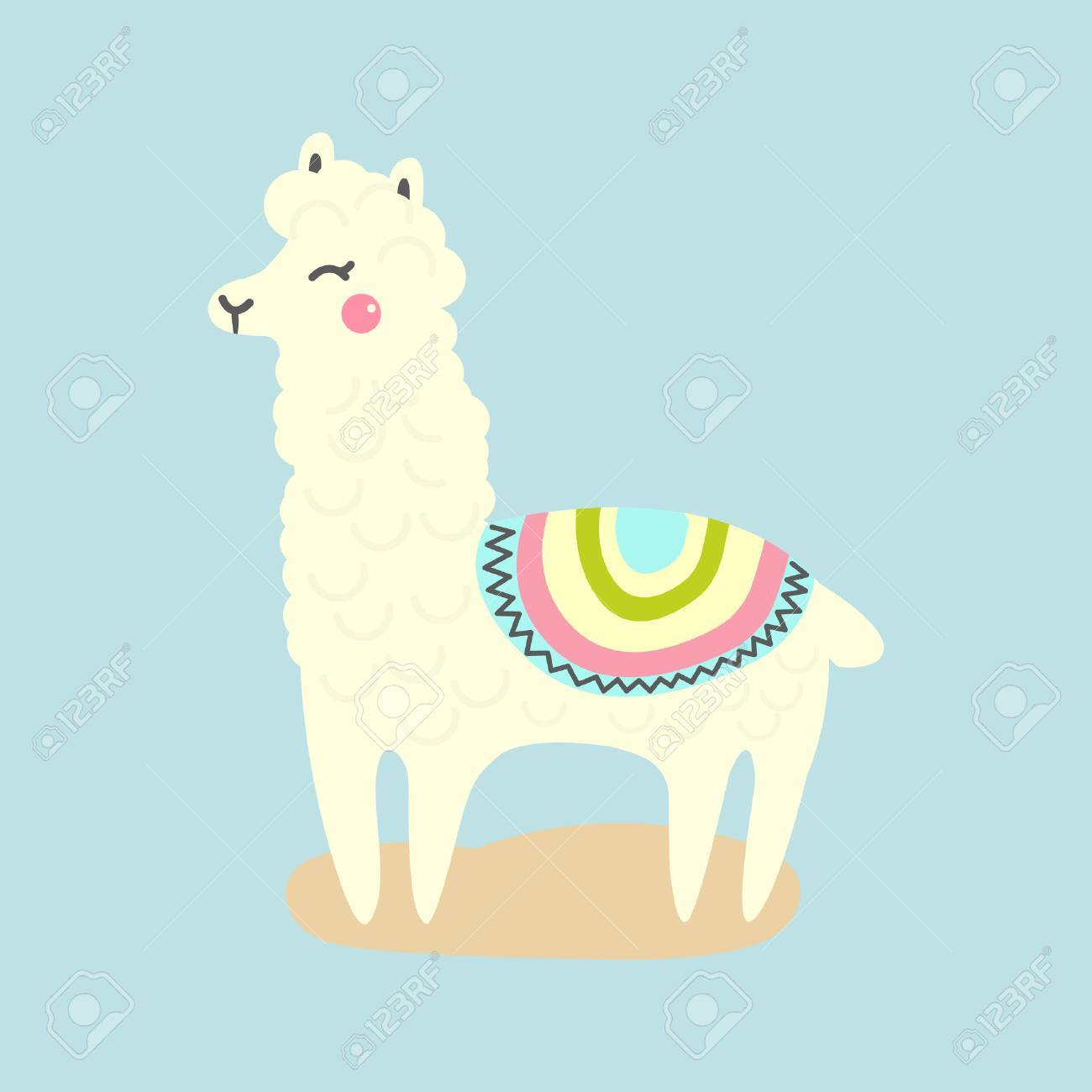Vector cute llama or alpaca illustration. Funny animal.