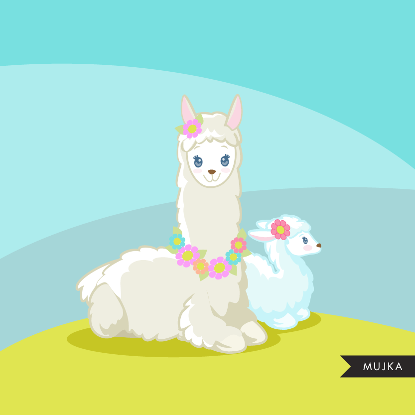 Llama clipart. Cute Mama Llamas for Mother's Day.