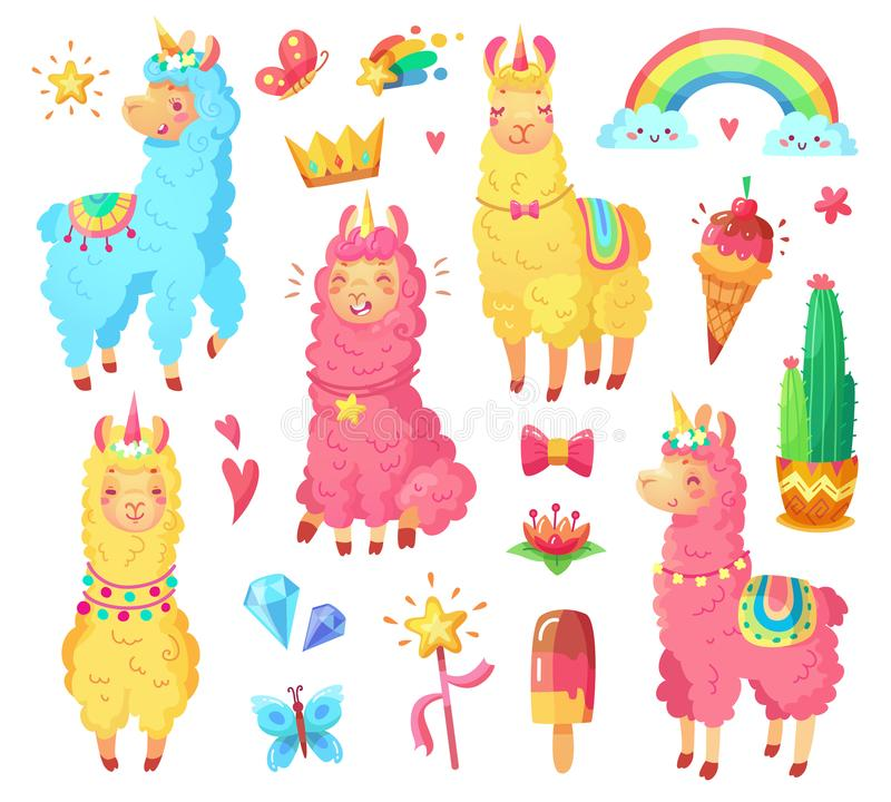 Cute Llama Stock Illustrations.