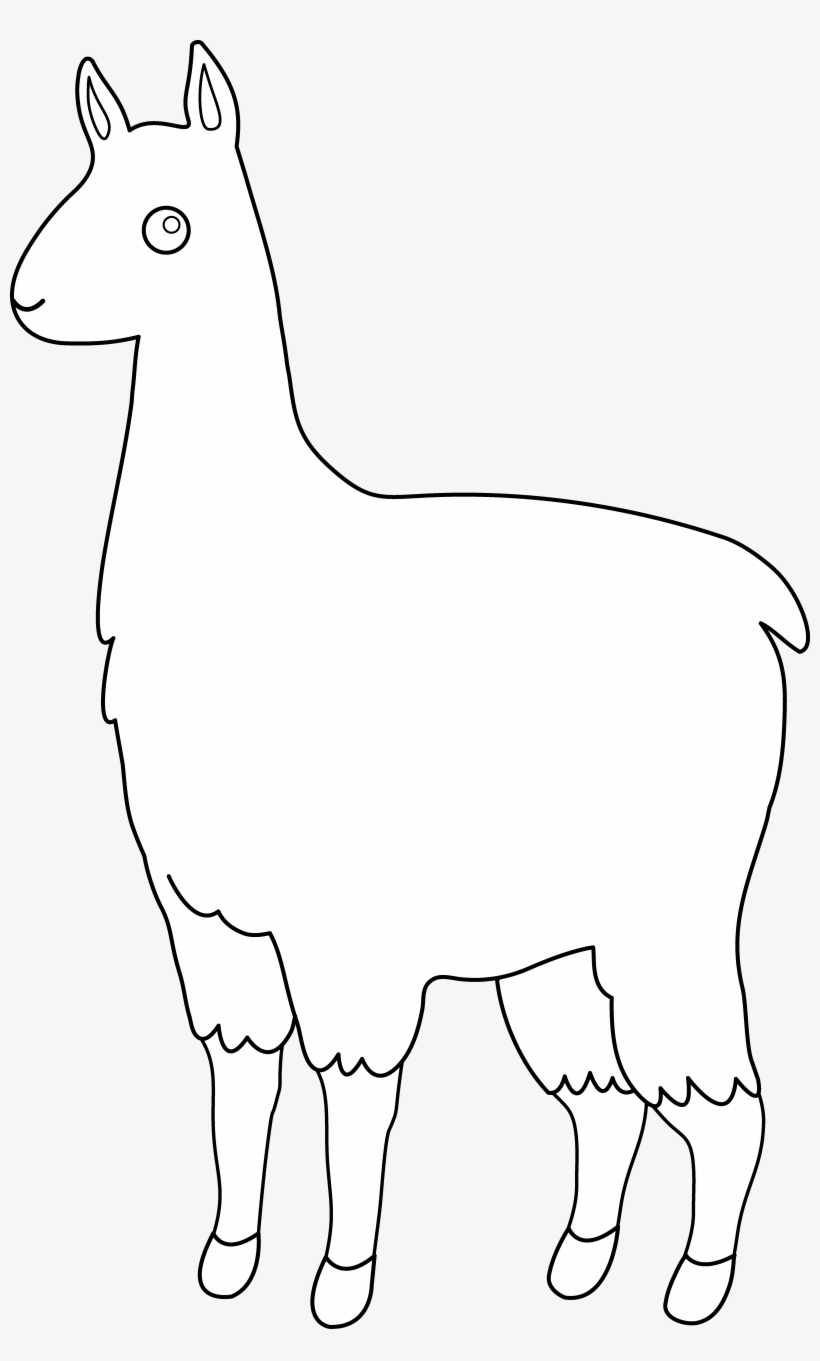 Cute Llama Line Art Free Clip Clipart.