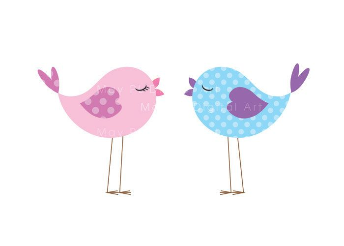 Bird Clip Art Animal Clipart Digital Cute Love Pastel Pink Baby Bird.