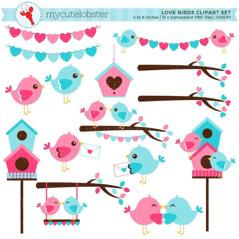 Love Birds Clipart Set.