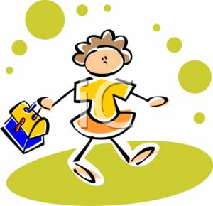 Cute Clipart Picture of a Little Girl Walking, Swinging Her Lunch Box.