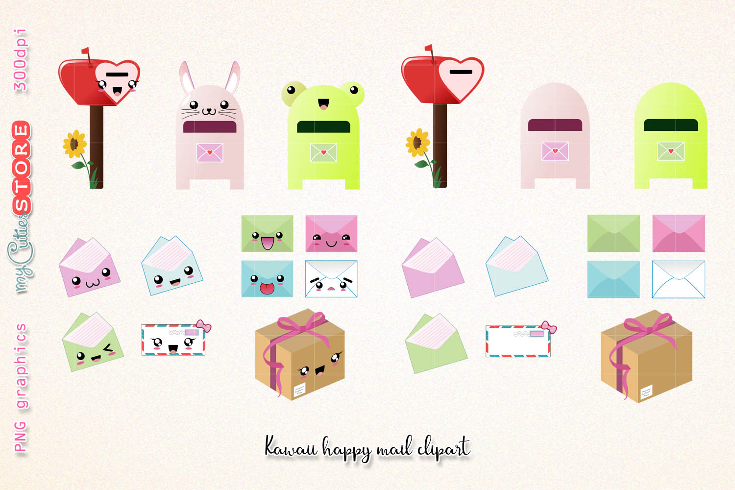 Kawaii happy mail clipart, cute mailbox graphics set great for planner  stickers, scraps or digital planning..