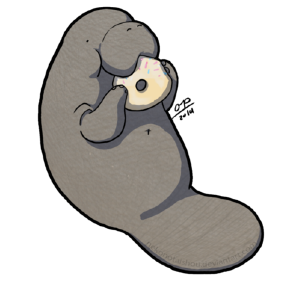 Cute Manatee Drawing.