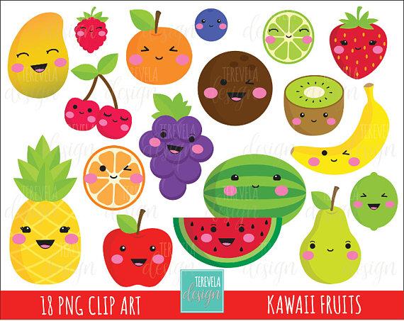 kawaii FRUIT clipart, commercial use, cute clip art, apple, banana.
