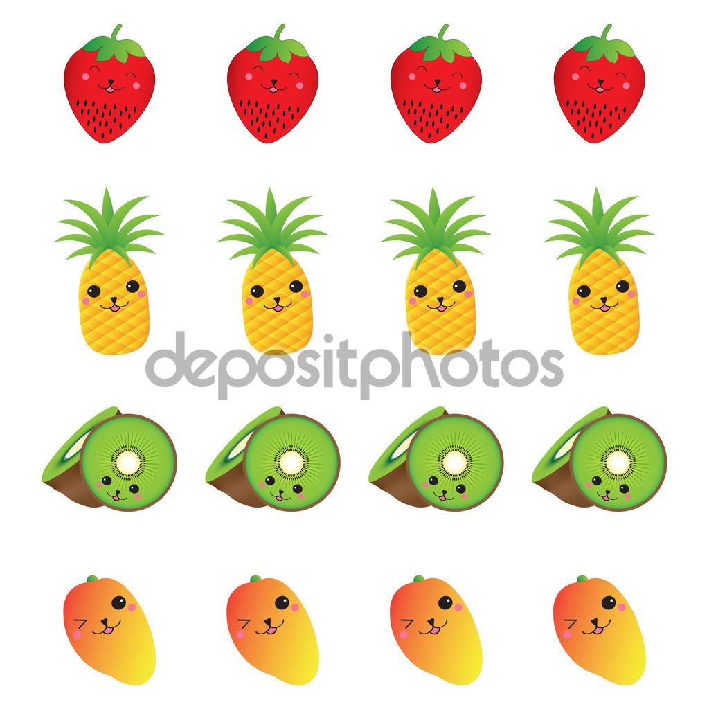 Summer illustration with cute strawberry, pineapple, kiwi fruit.